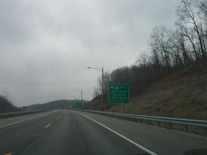 Signage for the junction of the two branches of the AA Highway in Lewis County. (January 3, 2003)