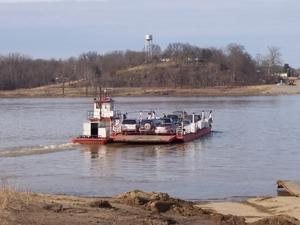 The Cave-in-Rock Ferry heads towards Illinois