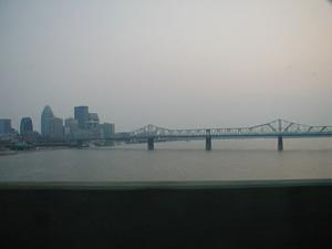 The US 31 George Rogers Clark Memorial Bridge/Second Street Bridge over the Ohio River in downtown Louisville, KY viewed from the I-65 John F. Kennedy Bridge.