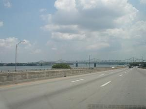 The US 31 George Rogers Clark Memorial Bridge/Second Street Bridge over the Ohio River in downtown Louisville, KY viewed from eastbound I-64 in downtown Louisville.