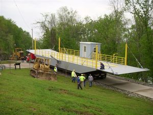 New KY 214 ferry barge on the boat ramp.