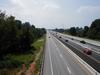 An overhead view of I-65 showing the split south bound lanes.