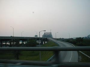 The I-65 John F. Kennedy Bridge over the Ohio River at Louisville viewed from east bound I-71.