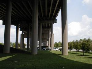 Underneath the Kennedy Bridge at the I-64-I-65-I-71 Spaghetti Junction interchange.