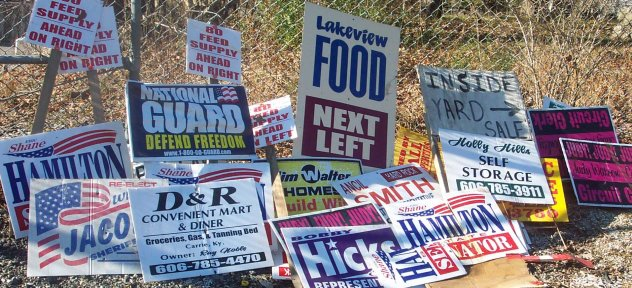 Illegally placed signs removed from state highway rights-of-way in Knott County.