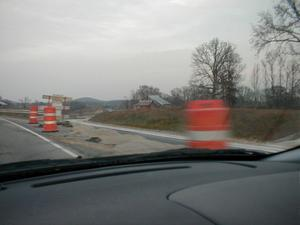 A new section of KY 101 being constructed near the old KY 101 in Edmonson County (November 18, 2001)
