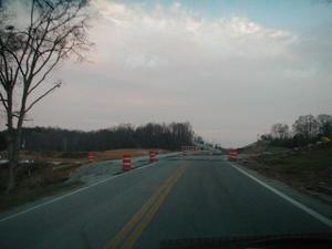 New KY 259 splits from Old KY 259 near Brownsville in Edmonson County (November 18, 2001)