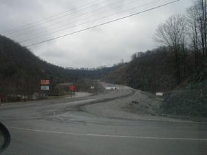 Construction of a new bridge on KY 645 southeast of the KY 3 interchange in Martin County (January 3, 2003)