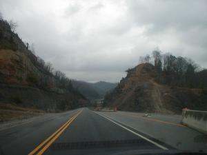 Road construction on KY 645 south of Inez in Martin County (January 3, 2003)