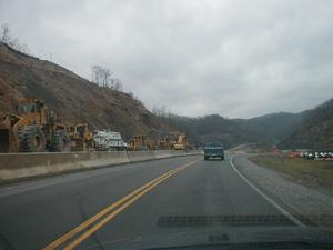 Construction equipment along KY 645 in Martin County (January 3, 2003)