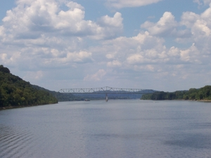 Matthew E. Welsh Bridge over the Ohio River viewed from downtown Brandenburg (Aug. 15, 2004).