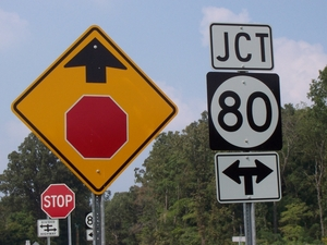The new KY 80 sports this new type of intersection indication.