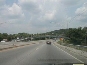 Pedestrian overpass just east of the Louie B. Nunn Cumberland Parkway on KY 80 in Pulaski County (July 6, 2003)