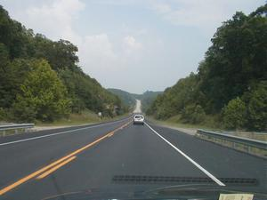 KY 80 approaching the Rockcastle River between Pulaski and Laurel Counties. (July 6, 2003)