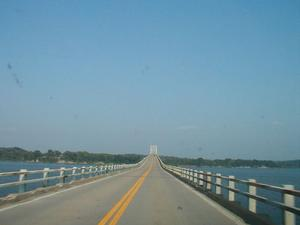 Heading east on the Henry R. Lawrence Memorial Bridge, the US 68/KY 80 bridge over Lake Barkley