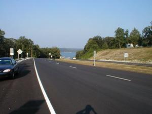The end of the recently completed four lane highway on the approach to the US 68/KY 80 bridge over Kentucky Lake.