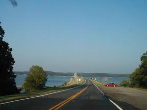 Approaching the US 68/KY 80 Eggner's Ferry Bridge over Kentucky Lake from the west.