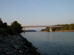 The Between the Rivers Memorial Bridge over the canal connecting Lake Barkley and Kentucky Lake.