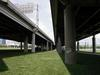 Underneath the I-64 viaduct through downtown Louisville (July 6, 2003)