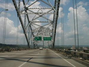 Heading north on I-64 entering Indiana via the Sherman Minton Bridge.
