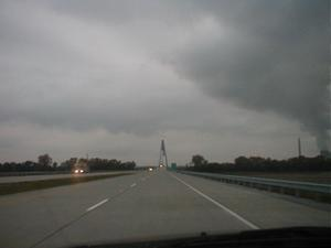 Approaching the William H. Natcher Bridge on US 231 northbound (October 26, 2002)