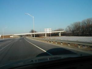 The US 231/Indiana 66 interchange at the Indiana approach to the bridge. (February 8, 2003)