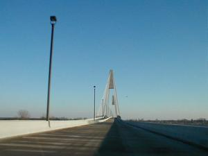 Heading south on the bridge from Indiana into Kentucky. (February 8, 2003)