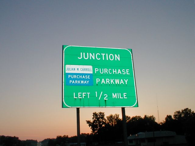 Julian M. Carroll Purchase Parkway sign on US 62 in Marshall County. (July 20, 2003)