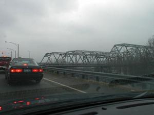 Approaching the twin Ashland bridges on US 52 in Ohio. (January 3, 2003)