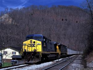 CSX train passes near US 119 construction site in Pike County